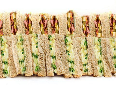 Sandwich platter mixture meat and vegetarian
